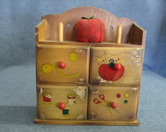 Sewing Notions Wooden Box with Drawers Pin Cushion and Wooden Spools of Thread
