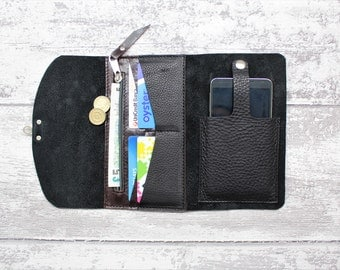 Leather wallet woman - leather purse in BLACK chrometan leather - iPhone case sleeve + snap - leather clutch and zipper wallet