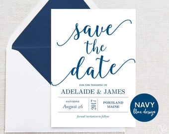 Navy Blue Save the Date Template, Printable Save the Date Card, INSTANT DOWNLOAD, Editable Text, 5x7, Modern Calligraphy, VW11