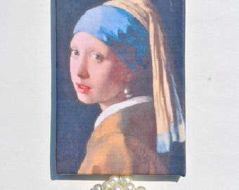 Statement necklace bluette satin with pendant with The Girl with Pearl Earring painting and pearls sphere