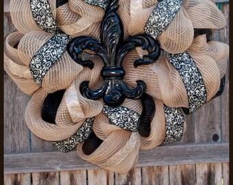 Burlap Deco Mesh Fleur De Lis Wreath