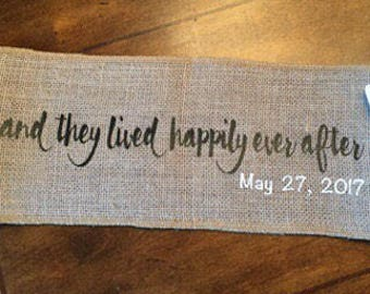 Happily Ever After Burlap Pillow Wrap/ Decorative Pillow Band/ Wedding Gift/Bridal Shower Gift