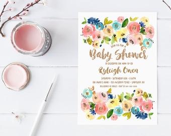 Baby Shower Invitation, Baby Shower Invite, Floral Baby Shower Invitation, Printable Baby Shower Invitation, Rose Gold Baby Shower [511]