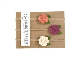 3 mini roses headbands - Plum and Rose