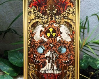 Skull Art, Skull Artwork, Skull Wall Art, Skull Painting, Skull Decor, Skull Poster on Wood Laser Engraved, Atom Power Nuclear Radiation