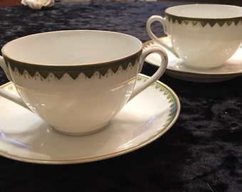 2 Antique Schwarzburg 2-Handled Bouillon Cup and Saucer Sets Germany Green