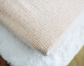Peach Changing Pad Cover. Coral Sprinkle Printed Change Pad Cover. Baby Girl's Room Modern Nursery Decor. Changing Station, Baby Shower Gift