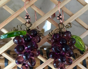 Luscious dark purple grape cluster earrings