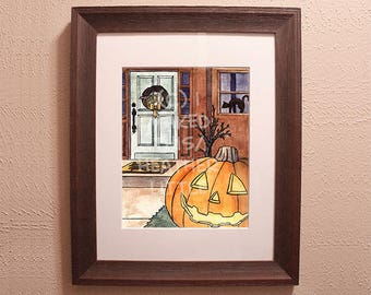 Halloween Pumpkin House Watercolor Print (Multiple Sizes Available)