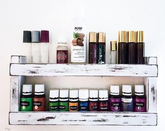 Essential Oil Shelf, oil rack, wood shelf, oil storage, hanging wall shelf, nail polish rack, kitchen decor, unique gift, bathroom shelf
