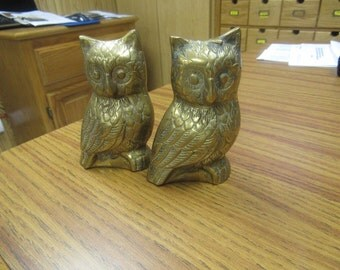 Two Brass Owls
