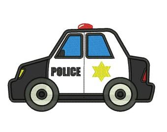 Police Car Applique Embroidery Designs Machine Embroidery Designs PES 9 Size Applique Designs - INSTANT DOWNLOAD