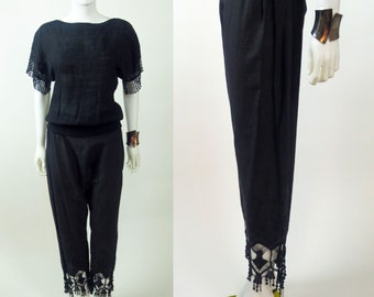 60s black dropped crotch embroidered lace hem ethnic cropped pants trousers