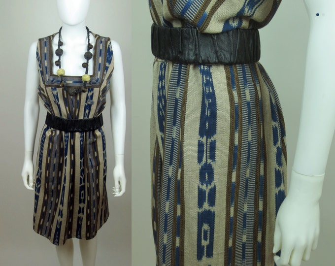 60s Indigo dyed Afro ethnic Ikat striped A line shift dress