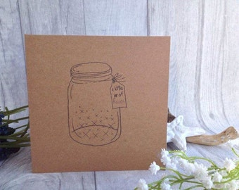 Little jar of kisses hand stamped card