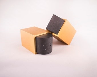 Post Modern Salt and Pepper Shakers by Dave Tisdale Memphis Milano Modern Mid Century Anodized Aluminum Yellow