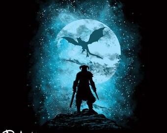 Poster: Dragon Slayer Poster/Skyrim Inspired Digital Art Print/Fusrohdah/Gaming/Popular Culture