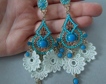 Turquoise Beaded Drop Chandelier Statement Earrings