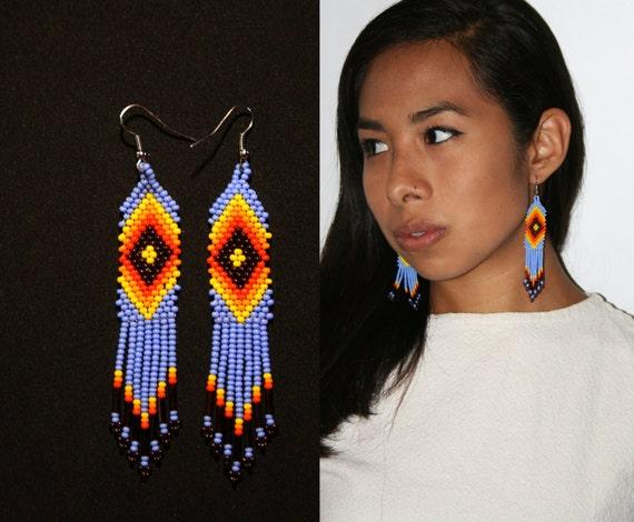 Brick Stitch Earrings w/ Ojo de Dios, Huichol Earrings, Native American Beaded Earrings, Seed Bead Earrings, Traditional Beadwork, Authentic