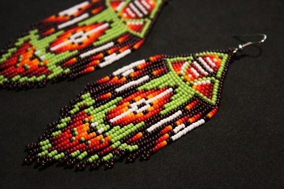 Geometric Earrings, Native American Beaded Earrings, Beaded Tribal Earrings, Aztec Earrings, Seed Bead Earrings, Traditional Beadwork