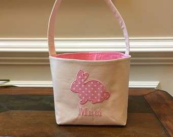 Personalized Easter Basket - Personalized Fabric Easter Basket - Personalized Girl's Easter Basket - Personalized Easter Bucket