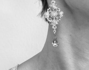 Patina earrings boho turquoise crystal vintage brass lace earrings