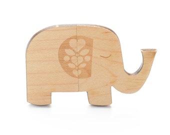 16GB Maple Elephant USB 2.0 Flash Drive - Magnetic Cap - Wooden USB Flash Drive