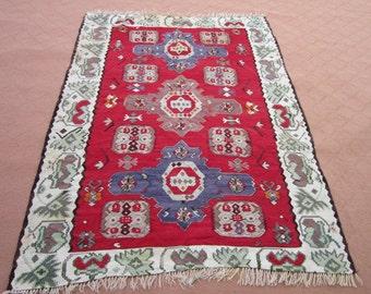 Size:6.7 ft by 4.9 ft Handmade Kilim Vintage Caucasin Turkish Kilim