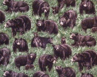 CUSTOM BOYS BOXERS, Black Bears, Cotton Fabric, Choose Size
