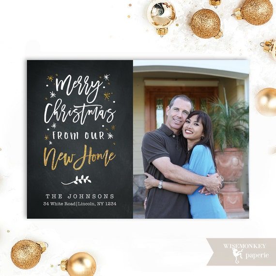 New Home House Moving Announcement Merry Christmas Photo