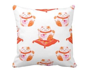 "Maneki Neko Good Luck Cat Print Throw Pillow, Orange, Red & White 16 or 20"" Square INDOOR or OUTDOOR Pillows, Lucky/Money"