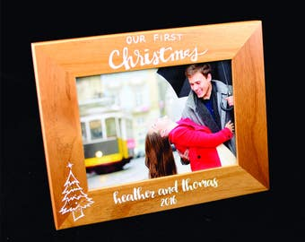 Our First Christmas - First Christmas - Custom Photo Frame - Wedding Photo Frame - Christmas Photo