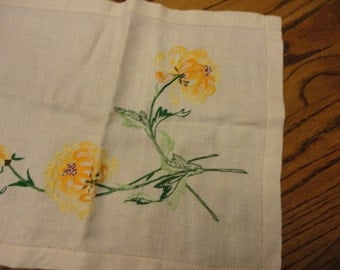 Hand embroidered dresser scarf with Mums