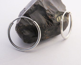 Classic Silver Hoops, 18 mm Silver Hoop Earrings, 925 Sterling Silver, Simple Hoop Earrings, Dainty Jewelry, Choose Single Earring or a Pair