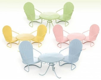 Fairy Garden  - Retro Bistro Set - Choose Color (yellow) - Miniature