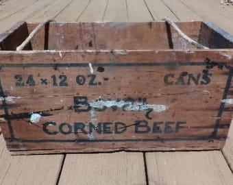 Bovril Corned Beef Wooden Box Crate