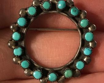 Vintage Zuni Petit Point Sterling & Turquoise Circle Pin