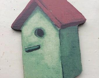 Bird house brooch