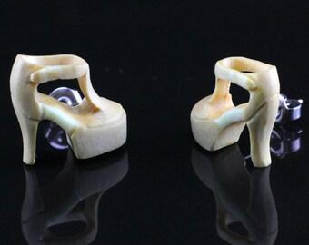 "Hand Carved- ""Sandal"" - Crocodile Wood with Bone Inlay Stud Earring - Urban Sole"