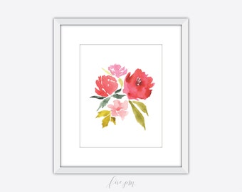 Floral watercolor print, floral watercolor printable, floral art print, watercolor print, watercolor printable, floral printable, watercolor