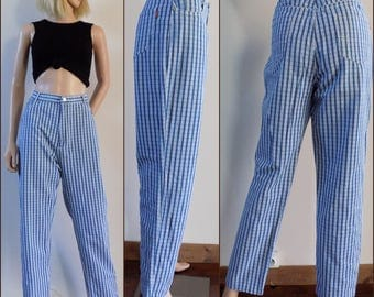 Womens blue white plaid jeans blue white check gingham cotton jeans size 33 inch waist