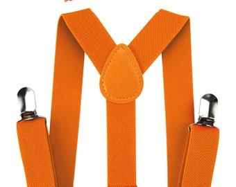 Kids Orange suspenders AXY + Orange fly - groomsmen - ring bearer outfit - photo-shooting - birthday