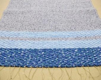 Woven blue gray rug rag bohemian boho rug, woven rug rag runner, bathroom rug rag, nursery rug, gray grey blue rug rag