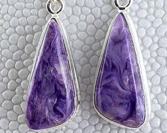 CHAROITE Russia jewelry earrings charoite natural stone, russian cherolit, cherolit, jewels, natural stone, ja68.1