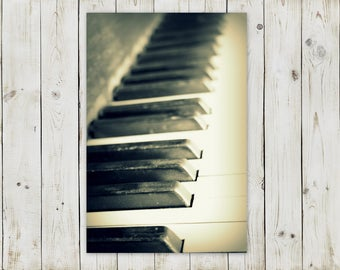 Printable Digital Download Photography | For the Pianist | Piano Keys in Black and White | Printable in Various Sizes!