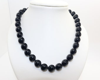 BLACK Glass Bead Hand Knotted Necklace 17inch long Vintage ART DECO Period ca 1930s