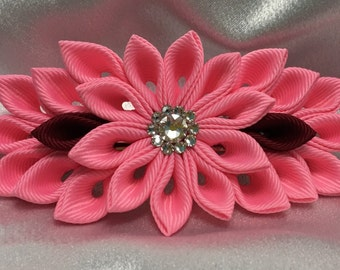 A Pink And Burgundy Kanzashi Style French Barrette