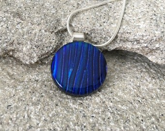Blue fused glass pendant with silver chain | Perfect necklace for any occasion 239