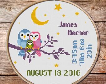 Baby Birth Announcement Cross Stitch pattern, Customisable Cross Stitch Pattern, owl cross stitch pattern, cross stitch baby birth sampler