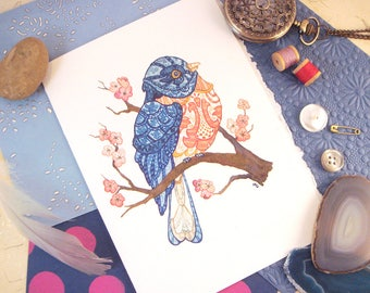 Watercolor Eastern Bluebird Print Greeting Card